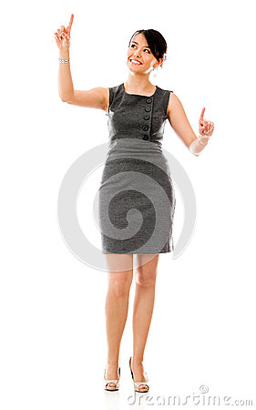 Business woman touching a screen