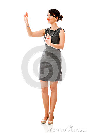 Business woman touching something