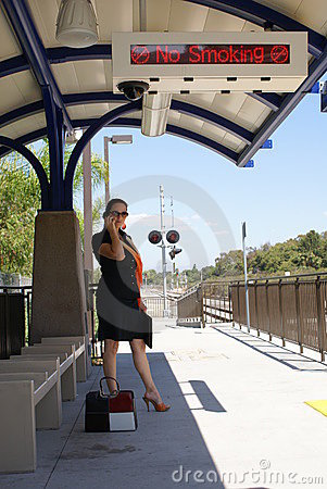 Business Woman at Train Station
