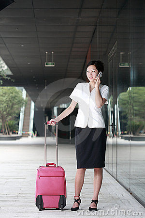 Business woman travel luggage