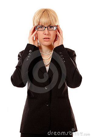 Business woman troubled with glasses