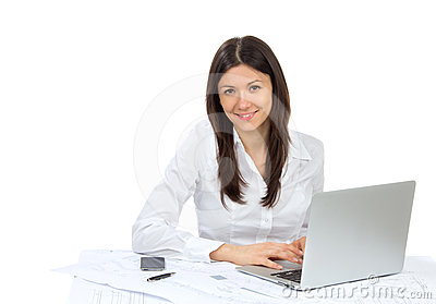 Business woman typing  laptop computer