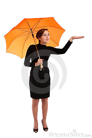 Business woman with umbrella check if it rains
