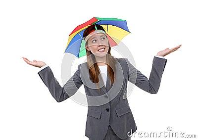 Business Woman Under Umbrella