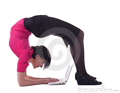 Business woman in unreal pose type laptop keyboard