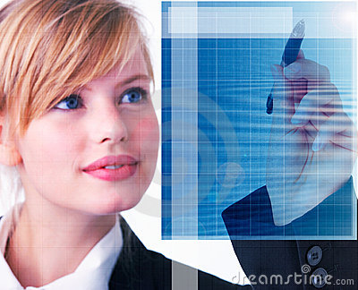 Business woman using advanced technology in present