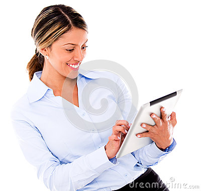 Business woman using a tablet