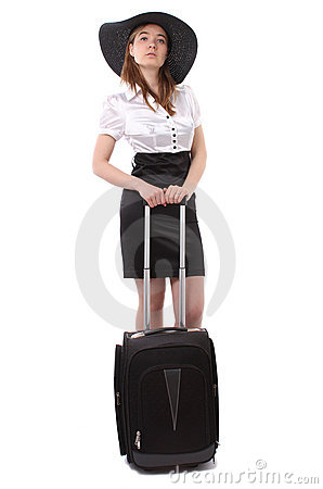 Business woman waiting with luggage