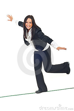 Free Business Woman Walk On Tightrope Stock Photo - 17331820