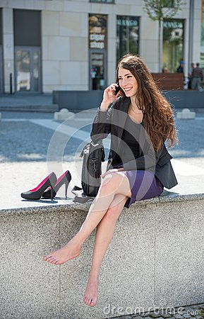 Free Business Woman Walking On Stairs Calling Phone Royalty Free Stock Photography - 24801267