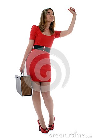 Business woman waving to a co-worker