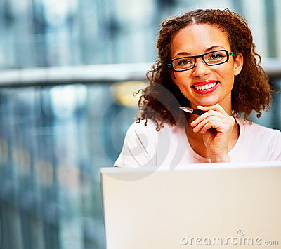 Business woman wearing spectacles