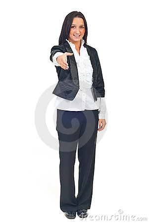 Business woman welcome gesture