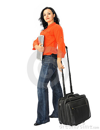 Business woman and wheeled computer case