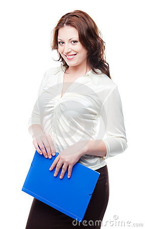 Business woman in a white blouse and skirt