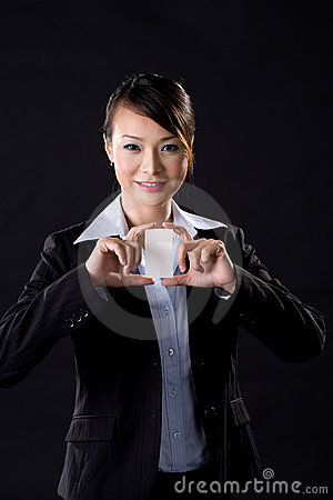 Business woman with white card