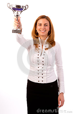 Business woman winning a trophy