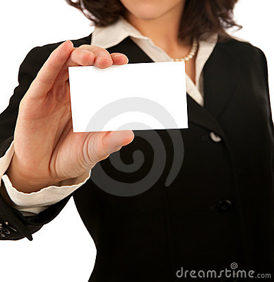 Free Business Woman With Blank Card Stock Photo - 11199840