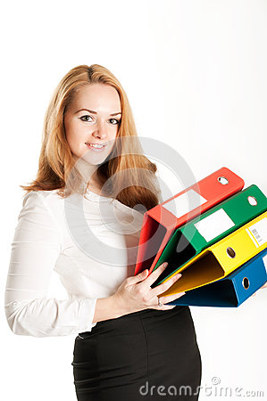 Free Business Woman With Folders On Light Background Royalty Free Stock Photos - 28119578