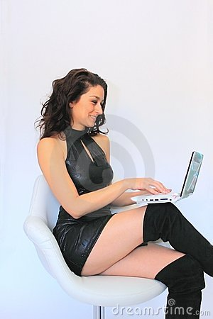 Free Business Woman With Laptop Royalty Free Stock Image - 12193606