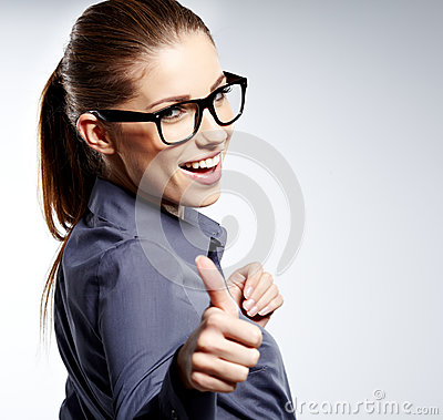 Free Business Woman With Ok Hand Sign Royalty Free Stock Images - 27128569