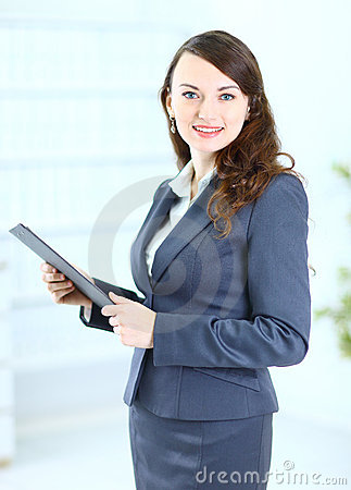 Business woman with the work plan