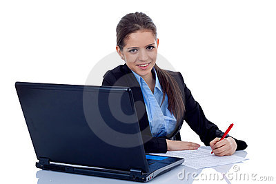 Business woman working at her desk