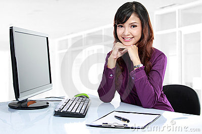 Business woman working on her desk