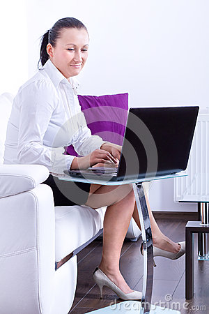 Business woman working on the laptop