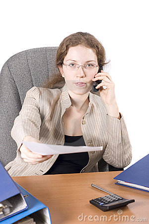 The business woman works with the documentation II