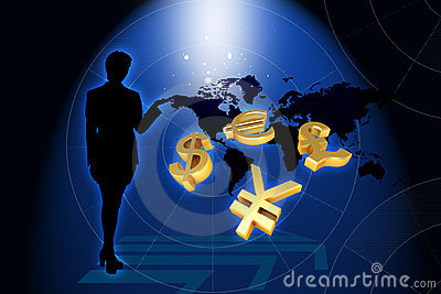Business woman and world currency in frond of worl