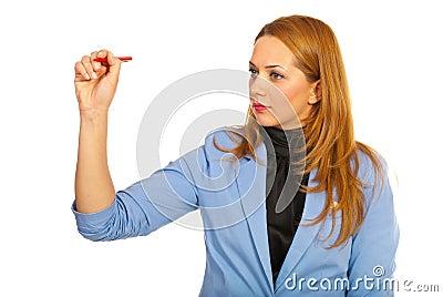 Business woman write