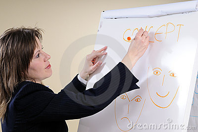 Business woman writing happy sad concepts