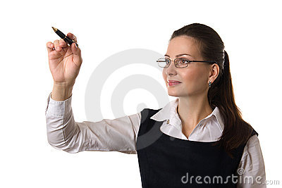 Business woman writing on white isolated backgroun
