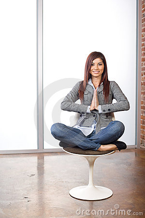 Business woman yoga