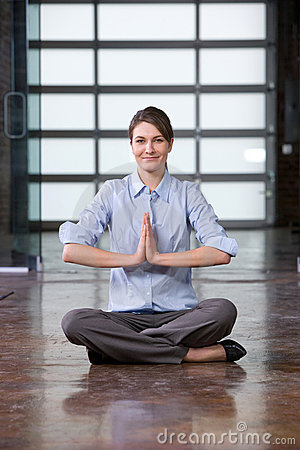 Business woman yoga at work