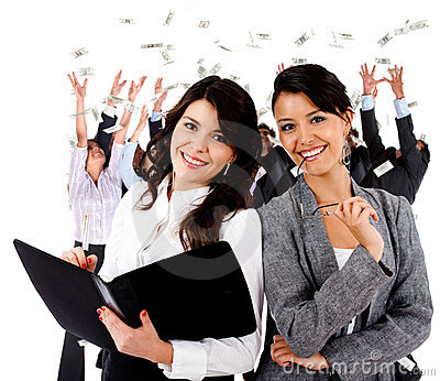 Business women with a group