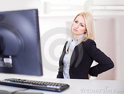 Business women having back pain