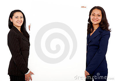 Business women holding a billboard