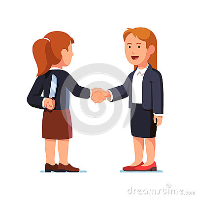 Business women shaking hands, one holding knife Vector Illustration