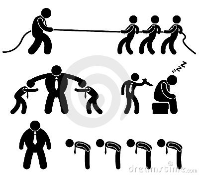 Business Worker Fighting Pictogram