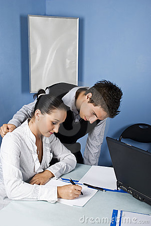 Business  young adults working in office