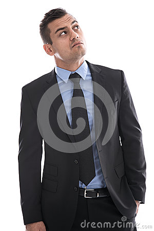 Free Business: Young Man In Suit Thinking With Hand In Pocket Isolate Royalty Free Stock Image - 35184446