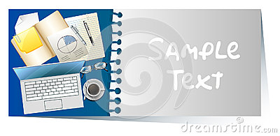 Businesscard with laptop and papers in background Vector Illustration