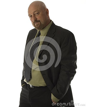 businessman 40 s smiling hand in pocket