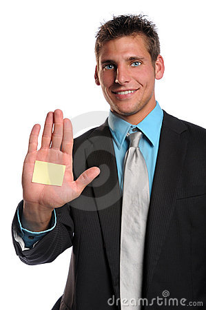 Businessman With Adhesive Note on Hand