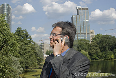 Businessman alking on cell phone