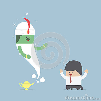 Free Businessman And Genie Giant In The Magic Lamp Stock Photos - 48482083