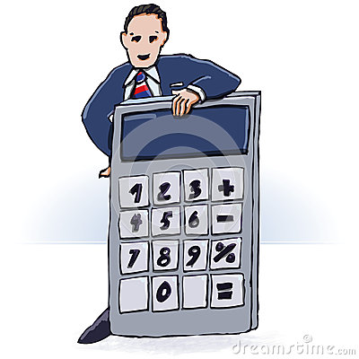 Free Businessman And Pocket Calculator Royalty Free Stock Photography - 44901157