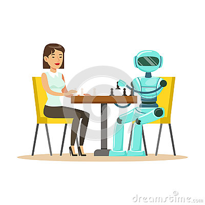 Free Businessman And Robot Playing Chess Vector Illustration Stock Image - 97593481
